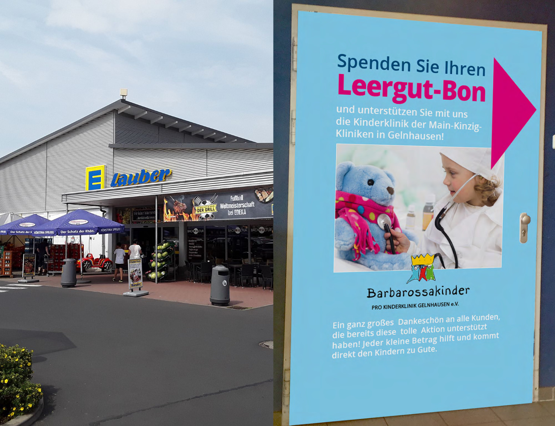Edeka Lauber und Leergut-Bon-Spenden-Anzeige